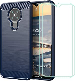SYBS Case+ [2 Pack] Screen Protector Compatible with Nokia 5.3, Tempered Glass Protective Film, Flexible Soft Gel Carbon F...