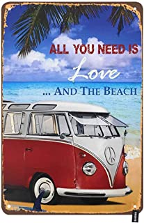 HOSNYE Tour Bus Tin Sign Letters All You Need is Love Sandy Beach Palm Elegance Ocean Vintage Metal Tin Signs for Men Wome...