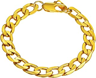Stainless Steel Cuban Chain Necklaces/Bracelets for Men Women, Black/18K Gold Plated, 4mm-13mm, 7.5