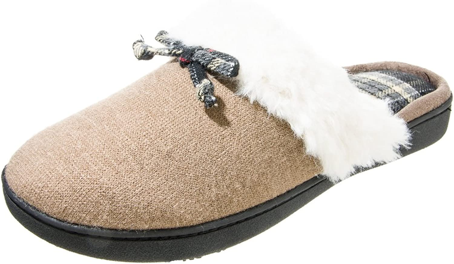 Isotoner Women's Brushed Sweater Knit Clog Slippers, Small, Smokey Taupe