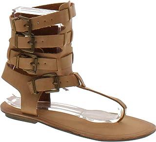 708379f99fad8 Liliana Avis-3 Women Leatherette Strappy T-Strap Gladiator Thong Sandal -  Nude