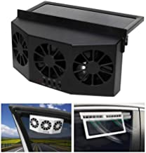 SELLMORE Solar Powered Car Ventilator, Solar Powered Car Exhaust Fan, Car Radiator,Eliminate The Peculiar Smell Inside The Car and Can Be Used for General Types of Cars (Black)