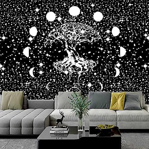 KHKJ Tapiz de árbol psicodélico Mandala para Colgar en la Pared tapices de macramé Hippie para la decoración del hogar de la Sala de Estar A17 200x150cm
