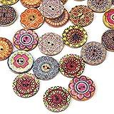100 unids 25 mm patrones mixtos ronda de madera botones vintage de 2 agujeros con mandala de impresión botones de costura hechos a mano scrapbooking bricolaje decoración artesanal accesorios