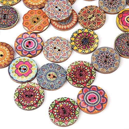 100 pezzi colore misto liscio bottoni in legno vintage 2 fori Naturale Pulsante Cucito Bottoni Decorativi per la decorazione del mestiere di cucito fai da te o notebook