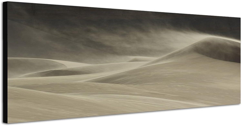 Sandsturm Sandsturm Sandsturm Schwarz weiß graugrün Bild 150x50cm Panorama Wandbild auf Leinwand und Keilrahmen fertig zum aufhängen - Unsere Bilder auf Leinwand Besteechen durch ihre ungewöhnlichen Formate und den extrem detaillierten Druck aus bis zu 1 ef0ba0