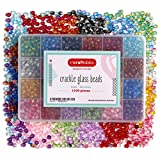 Incraftables Crackle Glass Beads 24 Colors 1100pcs 6mm Kit for Jewelry Making, Hair Accessories, Bracelets, & Crafts. Multicolor Lampwork Assorted Crafting Bead with Organizer Box for Kids & Adults