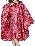 LATH.PIN Poncho Pioggia Impermeabile con Cappuccio Riutilizzabile Multiuso Adulto Portatile Mantella Antipioggia PieghevoleLeggero Ideale per Campeggio Pesca Trekking (Taglia Unica, Rosso-1)