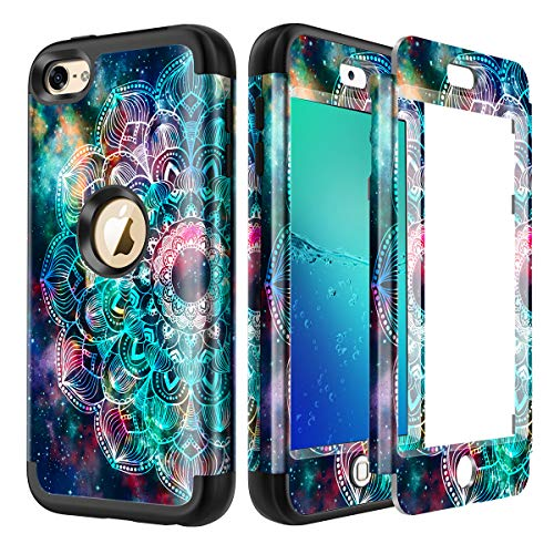 Lamcase for iPod Touch 7th Gen 2019 Case, iPod Touch 7/6/5 Case Shockproof Hybrid Rubber Dual Layer Protective Case Cover for Apple iPod Touch 7th/6th/5th Generation, Mandala/Galaxy