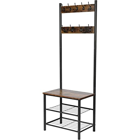 Coat Rack Shoe Bench Accent Furniture with Metal Frame White Storage Shelf Organizer Leopard Hall Trees with Bench and Coat Racks Entryway Coat Racks with Storage Bench