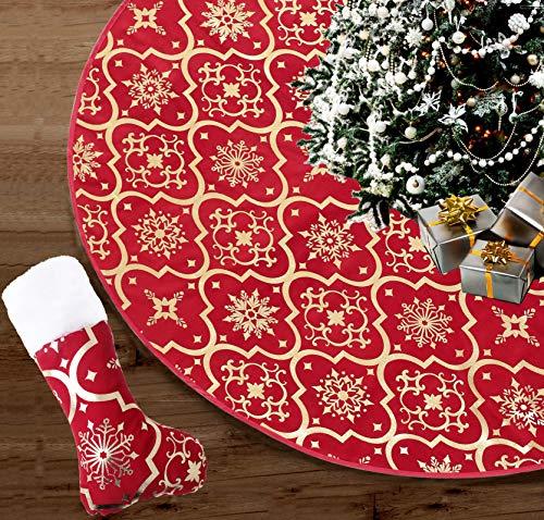 Bulkings Weihnachtsbaum Decke mit weihnachtsstrumpf, 120cm Länge Weihnachtsbaum Rock mit Schneeflockenmuster,Weihnachtsschmuck für Weihnachten, Urlaub, Party (Rot)