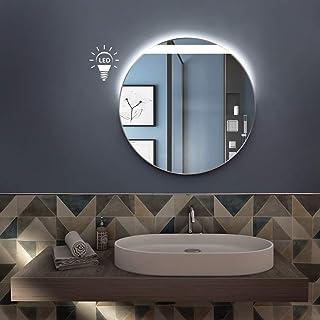 styleglass Specchio Bagno Tondo Leon Diamentro 60 cm, Made in Italy, Retroilluminato a LED adiacente alla sabbiatura, Tela...