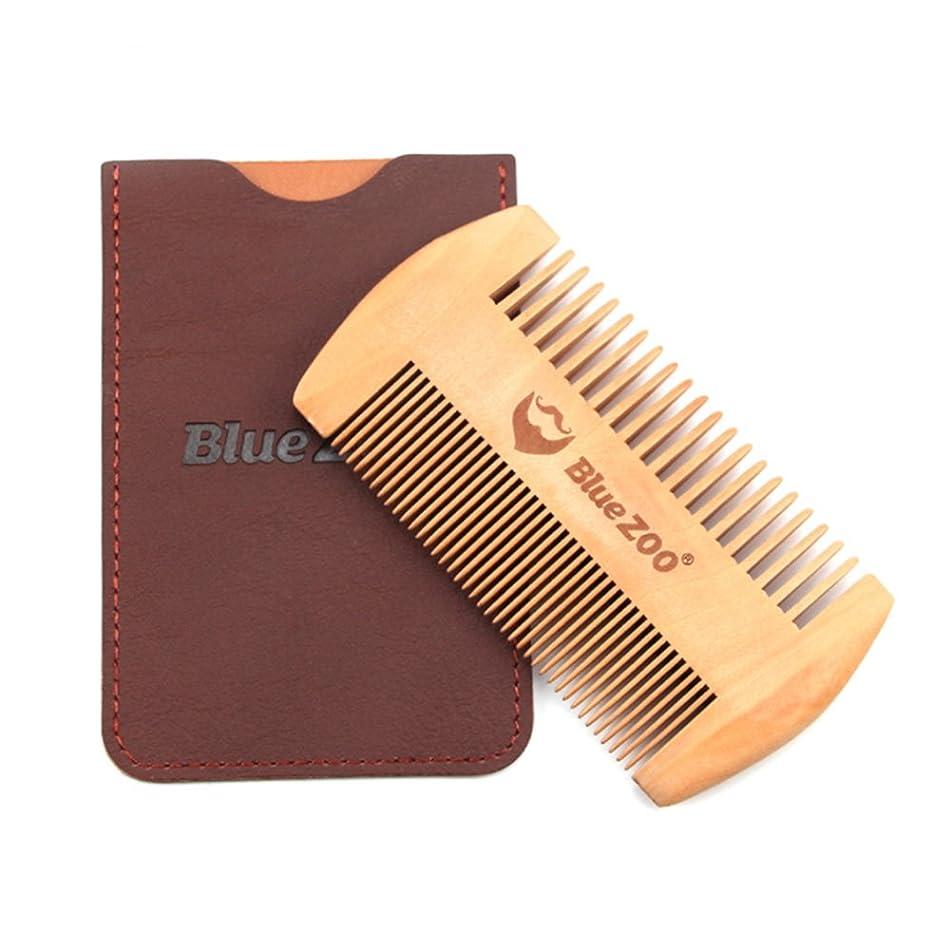 木製ひげ櫛、メンズスタイリングくしツール 高級ヘアケアブラシ 静電気防止 バッグ付く