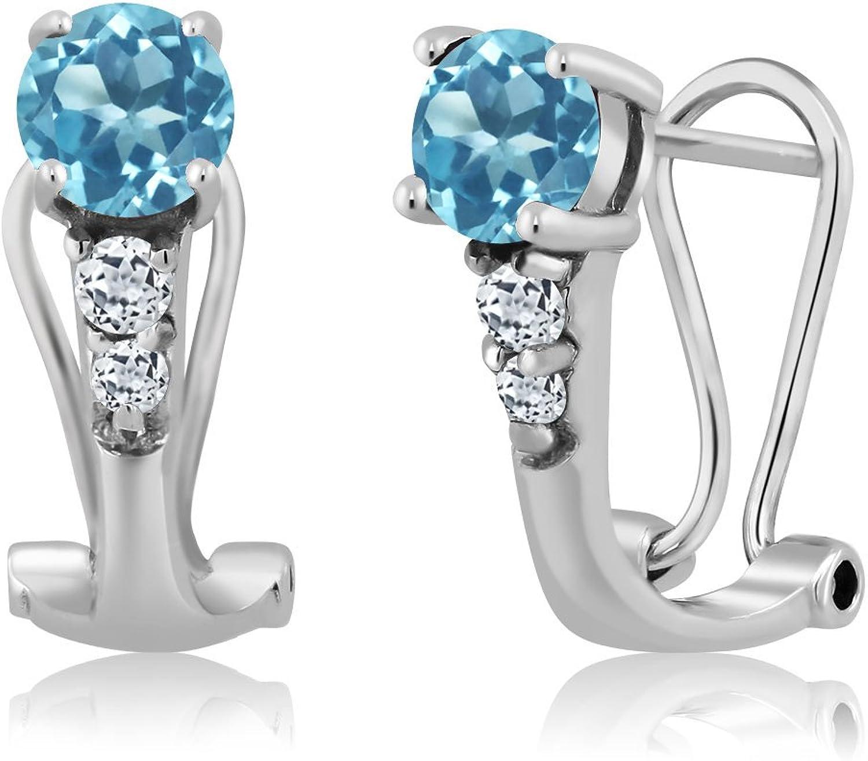 1.24 Ct Round Swiss bluee Topaz White Topaz 925 Sterling Silver Earrings