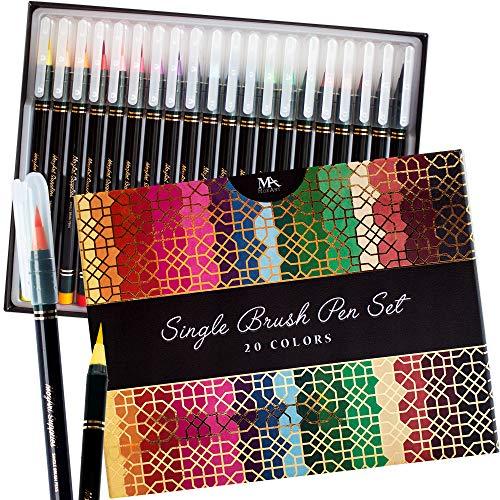 Estuche de lujo rotuladores punta de pincel - 20 colores premium, puntas reales y flexibles - Tinta a base de agua - ideal para artistas, estudiantes y calígrafos - MozArt Supplies