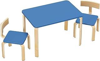 Homfa Ensemble de Table et 2 Chaises Table d'Enfant en Bois Massif et MDF 78.2×53.2×53.2cm Bleu Ciel