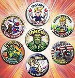 Magnificent 7 Trump 2.25 Inch Campaign Rally Pack Buttons - Vector Art Pins - Build the Wall - Trump Train - Adorable Deplorable - Trumpzilla - Trump Hulk - Women for Trump - Deport Democrats Badges