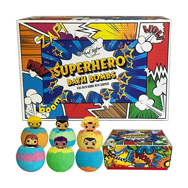 Bath Bombs for Kids with Surprise Inside – Set of 6 Colorful Bath Fizzies with Superhero Toys. Gentle and Kids Safe Spa Bath Fizz Balls Kit.Birthday Gift for Girls and Boys
