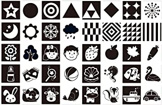 TOYANDONA 20pcs Black White Flash Cards High Baby Contrast Visual Stimulation for Toddlers Learn Letters Colors Shapes Num...
