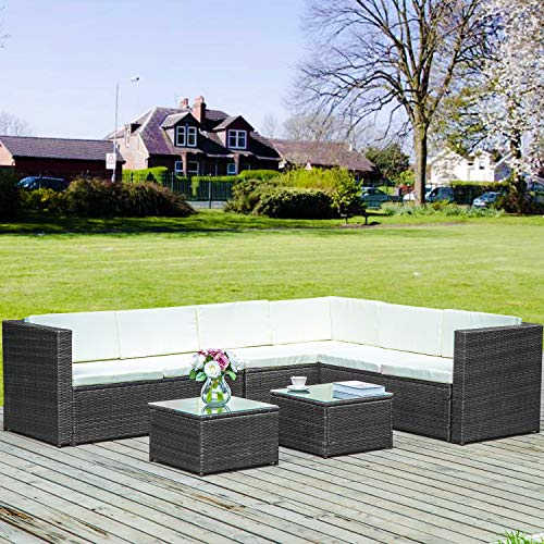 Merax Poly Rattan Lounge Möbel Set Outdoor Gartenmöbel Set 6-Sitzer Eckofa Terrasse Set Sitzgruppe...