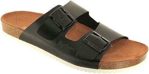 Pepe Jeans - Mules en cuir Pepe Jeans ref_pep39367-999-noir