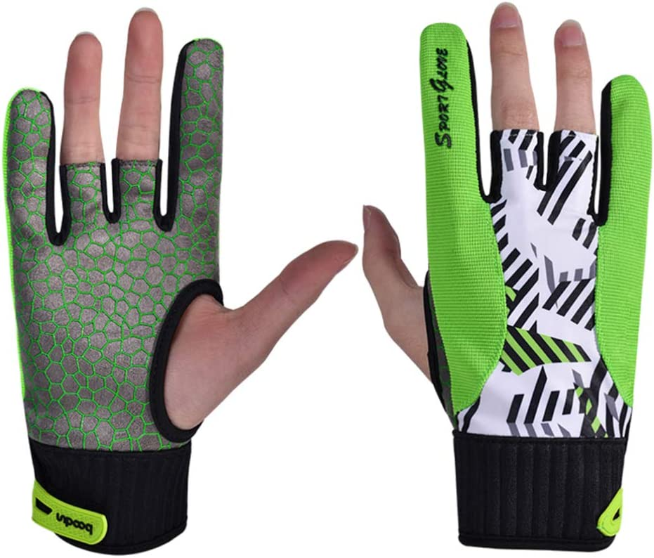 Genuine Free Shipping EXCEART Bowling Gloves Selling and selling Semi Finger 1 Sport Pair Silicone
