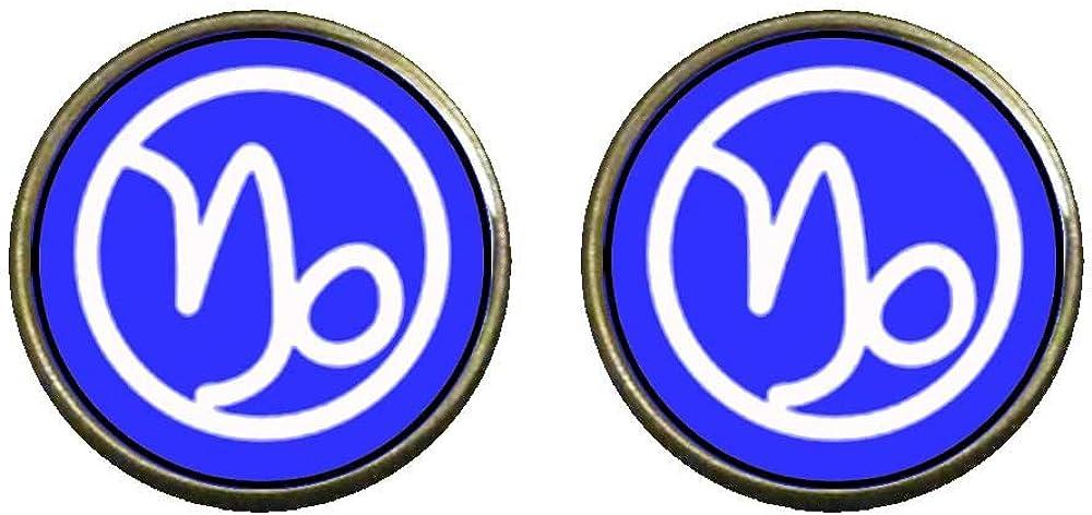 GiftJewelryShop Bronze Retro Style Capricorn Zodiac Photo Clip On Earrings 14mm Diameter