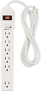 AmazonBasics 6-Outlet Surge Protector Power Strip, 6-Foot Long Cord, 790 Joule – White