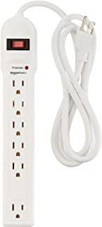 AmazonBasics 6-Outlet Surge Protector Power Strip, 6-Foot Long Cord, 790 Joule - White