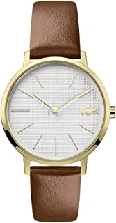 Lacoste Women's Moon Gold Tone Quartz Watch with Leather Calfskin Strap, Brown, 16 (Model: 2001106)