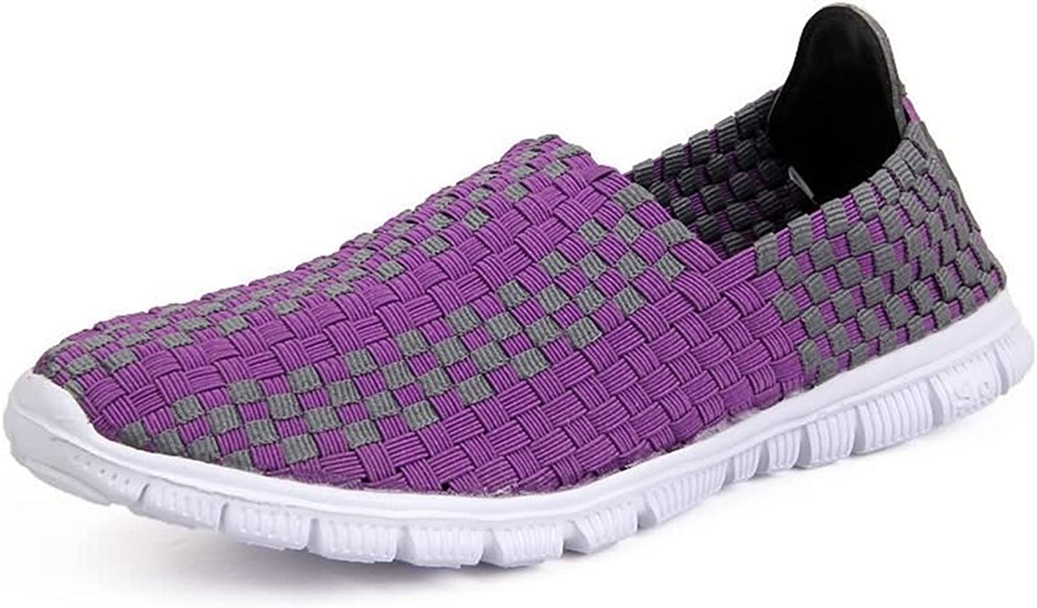 Hilotu Women's and Men's Camouflage Breathable Athletic shoes Grid Pattern Slip On Splice Vamp Leisure Fashion Sneaker Wild Breathable HandKnitted shoes (color   Purple, Size   3.5 M US Big Kid)