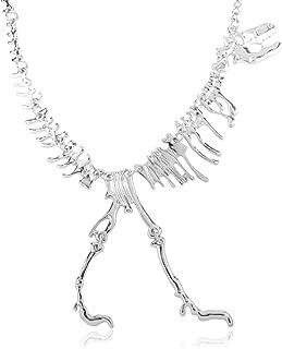Goth Punk Vintage Costume Necklace - Heart, Cross, Moon & Star Choker, T-Rex Dinosaur Skeleton Statement Bib Unique Fun Novelty Gift