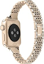Compatible with Bling Metal Apple Watch Band 38mm 40mm Women Diamond Slim iwatch Band for Series 5 4 3 2 1 Champagne Gold