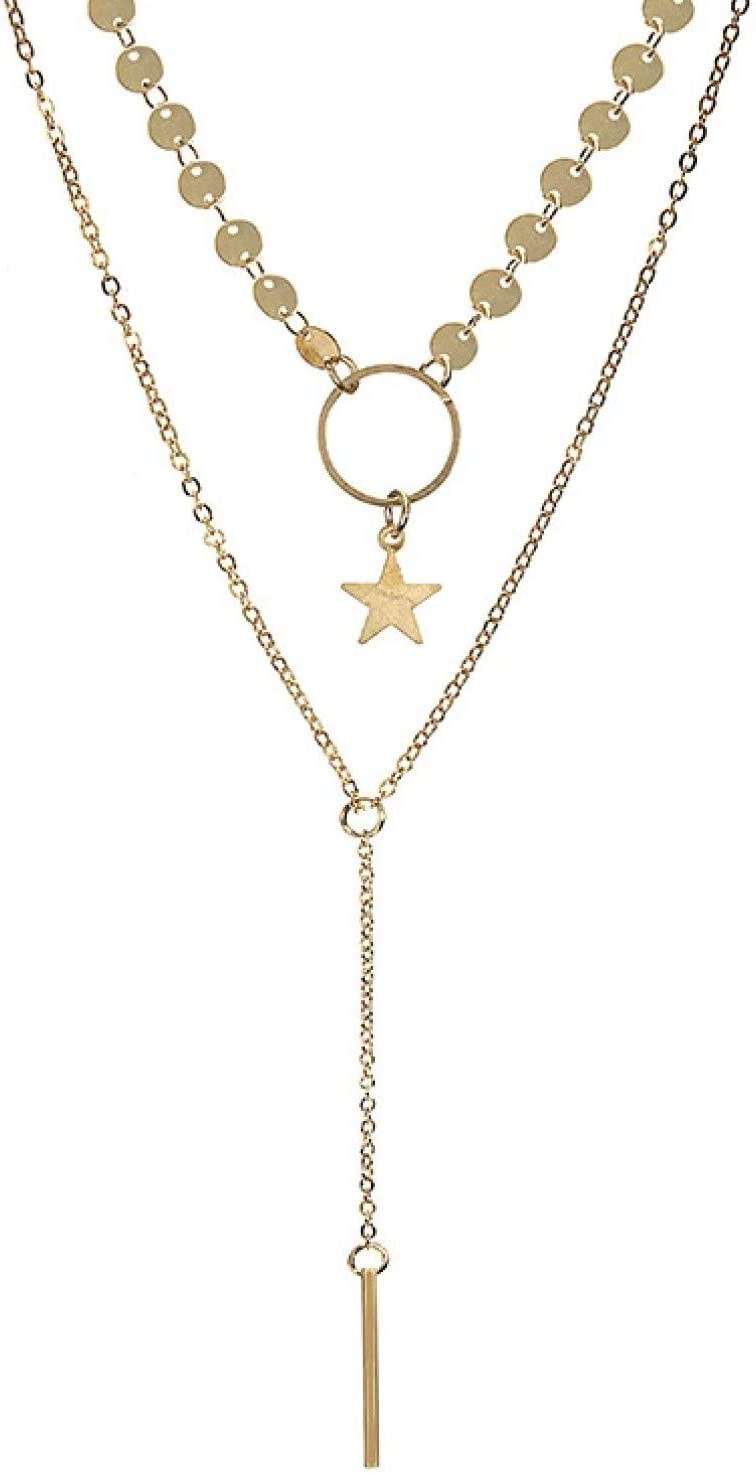 N/A Necklace Pendant Bohemian Gold Color Multilayer Star Pendant Necklace for Women Long Chain Sequined Choker Collar Alloy Necklace Fashion Jewelry Halloween Christmas Birthday Party Gift