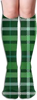 Cuadros a cuadros Verde oscuro Bosque Irlandés Mujeres Medias Hasta la rodilla Clásicos Calcetines largos de poliéster-algodón 50cm Negro Talla única 1 par