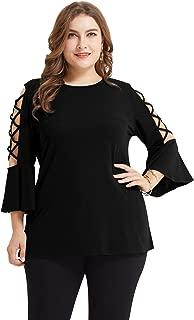 Womens Plus Size Flare Sleeve Round Neck Tunics Tops Loose Basic Shirt
