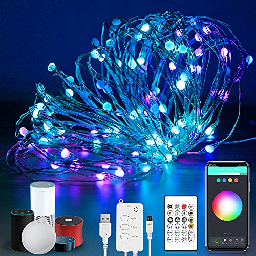 Smart Fairy String Lights,32.8FT Music Sync USB Powered Indoor Led String Lights,App and Voice Remote Control RGB Color Changing,Works with Alexa and Google Home,WiFi(2.4GHz) and Bluetooth Connection