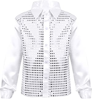 Kids Boys' Hip-hop Latin Jazz Dance Stage Performance Costumes Long Sleeve Sequined Shirt Disco Tops