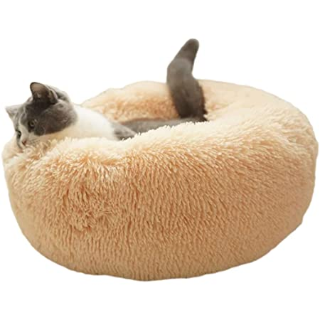 Amazon Com Original Cat And Dog Bed Luxury Shag Fuax Fur Donut Cuddler Round Donut Dog Beds Indoor Pillow Cuddler For Medium Small Dogs S 20208inch Light Brown Kitchen Dining