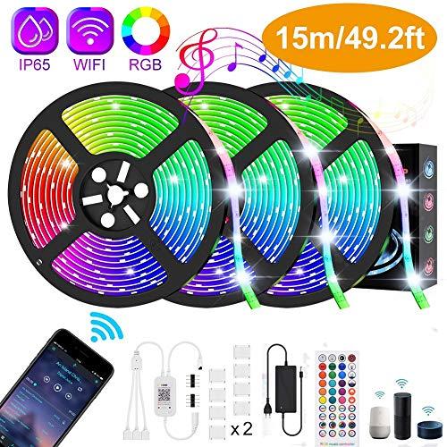 Elitlife 15m Wifi LED Streifen, RGB LED Strip Smart Kit steuerbar via App, 16 Millionen Farben, 5050 Lichtband Kompatibel mit Alexa, Google, Musik, Deko für Wohnzimmer Küche Party [Energieklasse A++]