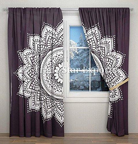 Trade Star, blanco y negro, mandala, cortina, bohemio, tapiz colgante, algodón, cortinas, decoración para el hogar, cortina con 2 paneles