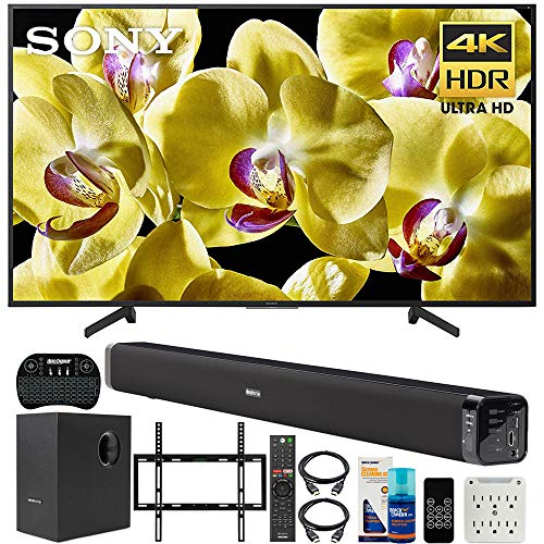 Sony XBR-65X800G 65-inch 4K UHD LED Smart TV (2019) Bundle with Deco Gear 60W Soundbar with Subwoofer, Deco Mount Flat Wall Mount Kit, Wireless Keyboard, Screen Cleaner and 6-Outlet Surge Adapter