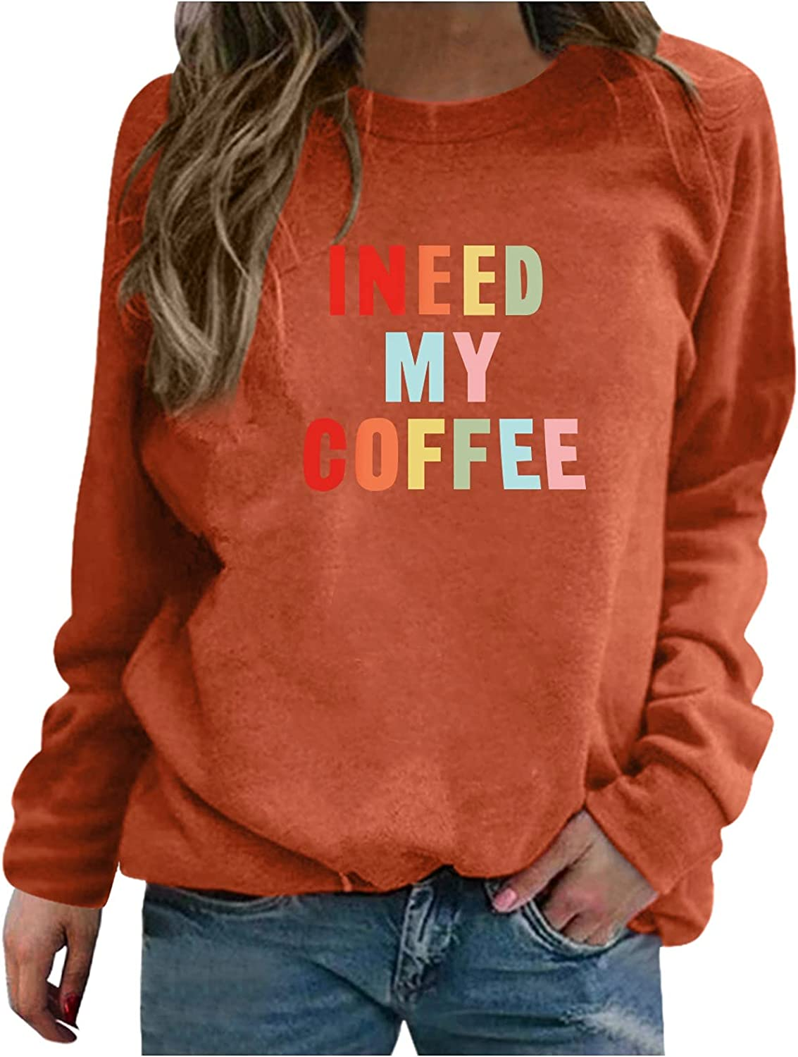 NHGJ Women's Casual Crewneck Sweatshirt with Sayings Funny Graphic Long Sleeve Shirt Tunics Tops Loose Pullovers Blouse