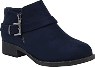 Ataiwee Women's Wide Ankle Boots - Suede Classic Chunky Heel Short Booties with Zip Closure.