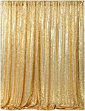 7ft x 7ft Gold Sequin Backdrop Curtain Sparkly Wedding Backdrop Drapes for Glitter Wedding Decoration Party Birthday Baby Shower Photo Backdrop Decoration