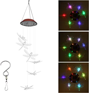 PGCOKO Outdoor Solar Dragonfly Wind Chimes, Color-Changing Outdoor Waterproof Led Solar Powered Dragonfly Chimes Mobiles for Home/Party/Yard/Garden Decoration