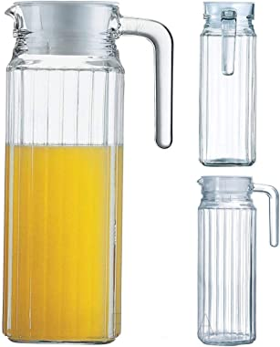 1100 ml (Set of 2) pcs-2, Glass jug Pitcher with lid iced Tea Pitcher Water jug hot Cold Water ice Tea, Milk and Juice Bevera