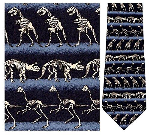 Mens 100% Silk Horizontal Dinosaur Skeltons Tie Necktie