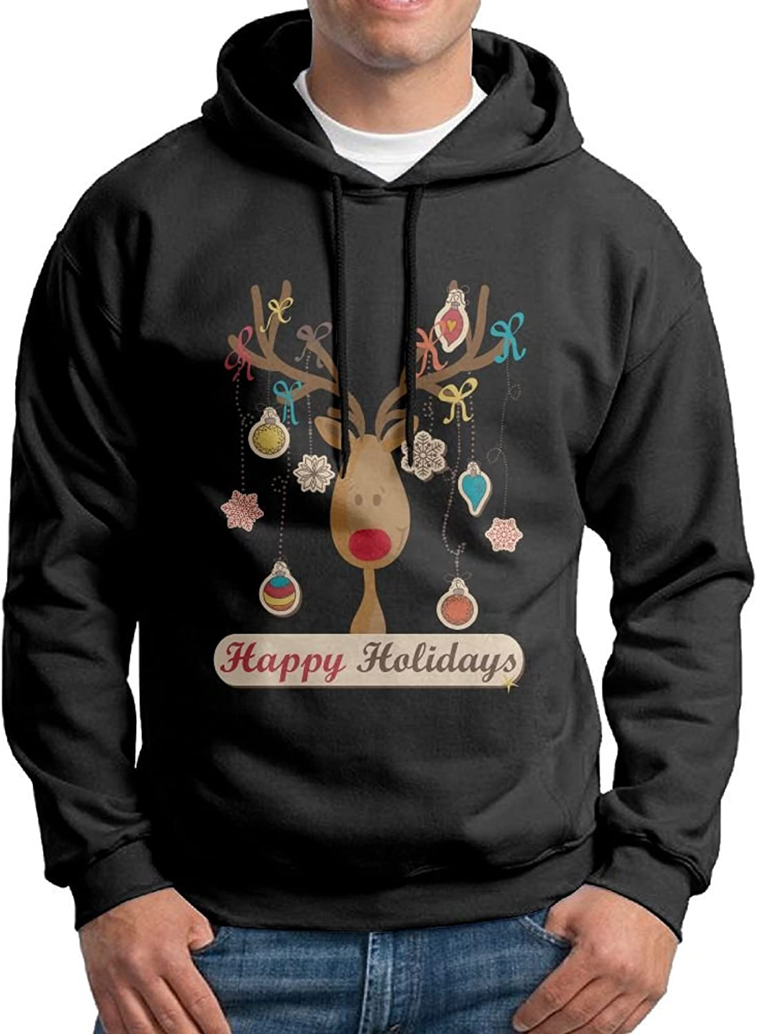 Fashion Men's Athletic Happy Holiday Moose Print Soft & Cozy Drawstring Hoodie Without Pocket Hooded Sweatshirt White