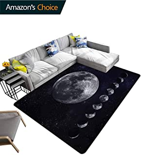 TableCoversHome Moon Phases Sports Door Mats Inside Non Slip, Starry Night Sky Space Pattern Printing Door Mat, Fashionable High Class Living Dinning Room (3'x 8')